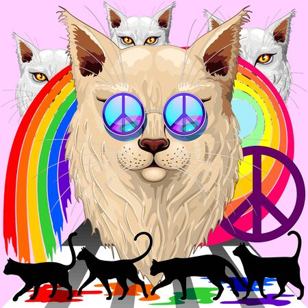 'Imagine' Cat Rainbow Peace and Love with the Four Liverpool Legendary Dudes Surreal Vector Illustration