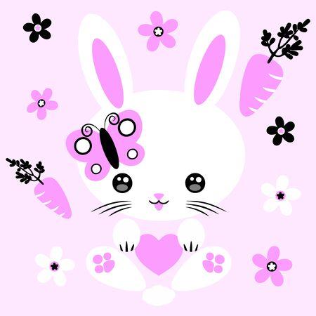 Bunny Kawaii Pink Cute Character Vector Illustration Ilustração