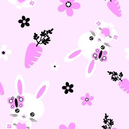 Bunny Kawaii Pink Cute Character Vector Seamless Pattern