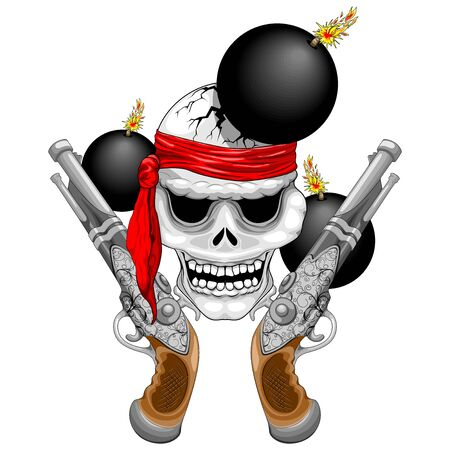 Pirate Skull with Ancient Guns and Explosive Cannonballs Vector Illustration
