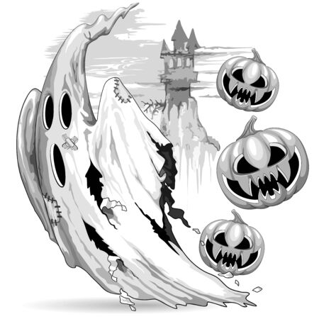 Ghost and Evil Pumpkins funny Nightmare Escape Halloween Vector Illustration isolated on white Ilustração