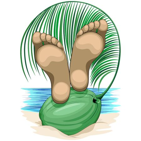 Feet Relax on Coconut Beach Life Vacations Vector illustration isolated on White Copyright BluedarkArt Illustration