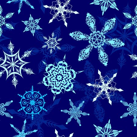 Snowflakes on Winter Blue Night Background Vector Seamless Pattern