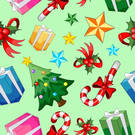Christmas Elements Vector Seamless Repeat Pattern Background