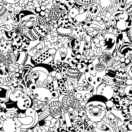 Christmas Doodles Funny and Cute Black and White Characters Vector Seamless Pattern Design