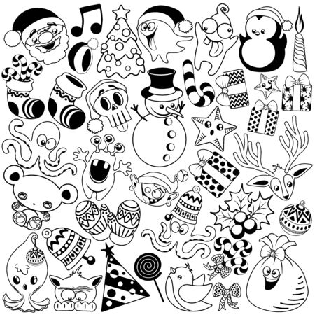Christmas Doodles Funny and Cute Black and White Vector Characters isolated pack of 37 Illustration