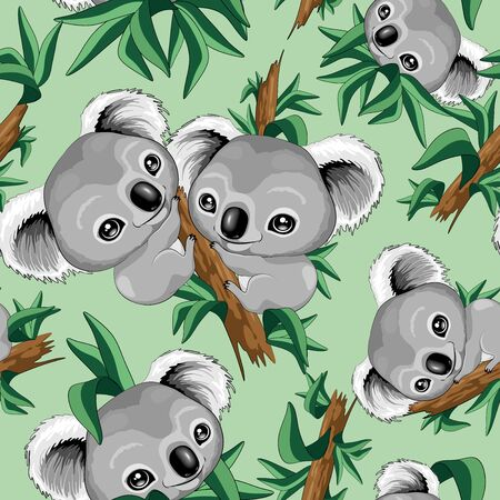 Cute Baby Koala Seamless Repeat Vector Pattern