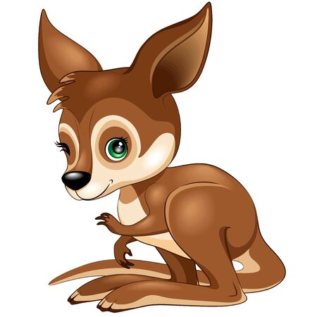 Kangaroo Wallaby Baby winking Cute Vector Cartoon Character