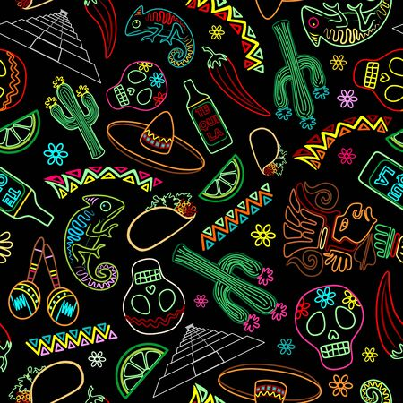 Mexico Fiesta Ornamental Line Art Elements Seamless Vector Repeat Textile Pattern