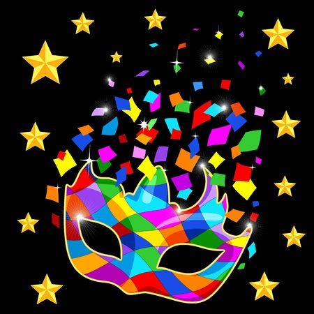 Harlequin Mask Mardi Gras Carnival Colorful Costume and Confetti Vector Illustration