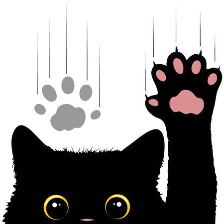 Naughty Cat krast vensterglas Leuke en grappige karakter vectorillustratie