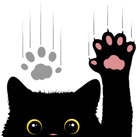 Naughty Cat scratches window glass Cute and Funny Character Vector Illustration