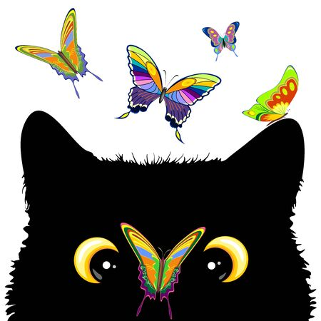 Cat with Butterfly on nose Cute and Naughty Vector Character Çizim