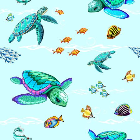 Sea Turtles Dance Oceanlife Vector Seamless Repeat Pattern Illustration