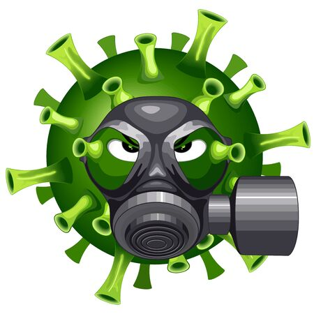 Coronavirus Evil Virus Cartoon Character with Face black Mask against Covid-19 Vector illustration isolated on white.