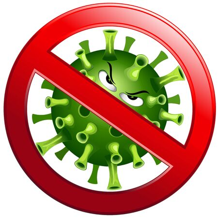 Coronavirus Evil Virus Cartoon Character with Forbidden Stop Sign Vector illustration isolated on white.