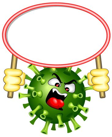 Coronavirus with white Panel Warning Vector Character isolated on white