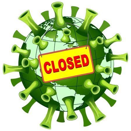 Coronavirus Covid-19 World Closed Vector Illustration isolated on white Vectores