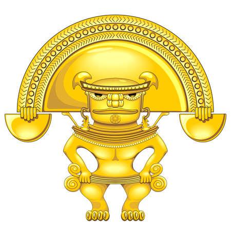 Aztec Warrior Golden Totem Symbol Vector illustration isolated on white