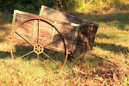 Old  wooden utility farm cart in a state park.