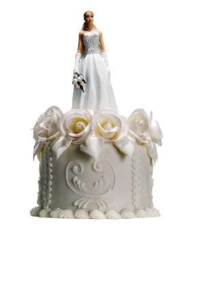 wedding cake with bride on top photo