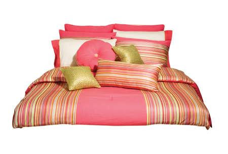 throw cushion: decor, stripes, pillows, peach, bed