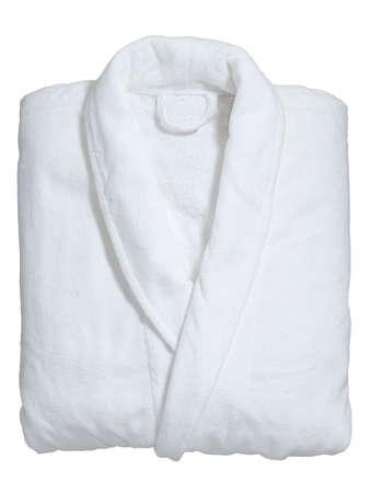 bathrobes: suave albornoz blanco Foto de archivo