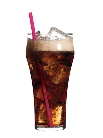 cola: high resolution glass of soda with ice an pink straw on white background Stock Photo