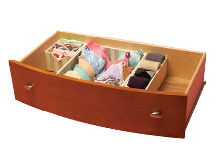 drawers: drawer with sorted socks, underwear, bra. organized Stock Photo
