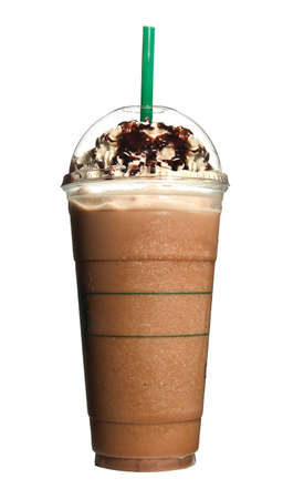 high resolution frozen coffee on white background