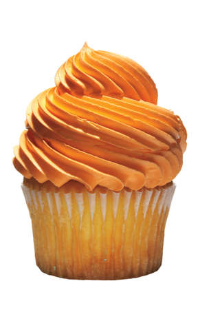 baked treat: Tasty cupcake with orange icing.  Junk food, snack, baked, treat, birthday.  Foodbeverage.