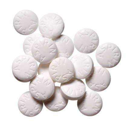 high resolution aspirin pills on white background
