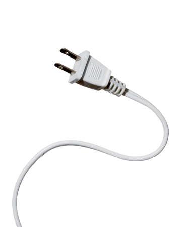 de alta resoluci�n en blanco cable de alimentaci�n en el fondo blanco Foto de archivo