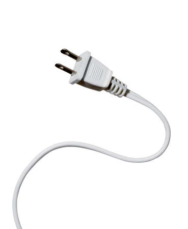high resolution white power cord on white background