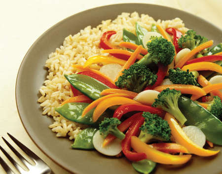 steamed: high resolution plate with vegetables and rice Stock Photo
