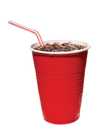 drinking soda: red plastic cup of soda with straw Stock Photo