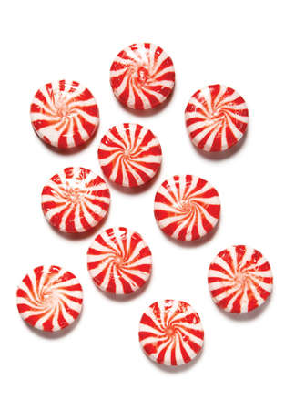 high resolution peppermint candies on white background Stock Photo