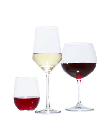bar ware: different sized glasses of wine alcohol Stock Photo
