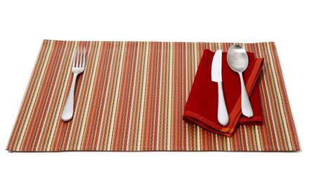 utencils: dinner mat with utencils table