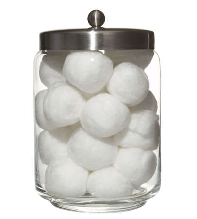 cotton ball:  cotton balls in a pot Stock Photo