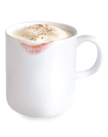 mug of eggnog with lipstick stain on it photo