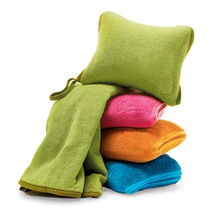 manta de viaje y la almohada