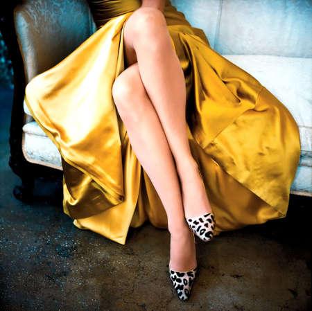woman alone, closeup womans legs