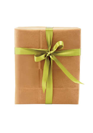 gift box wrapped in brown paper and green ribbon Stock Photo - 5545729
