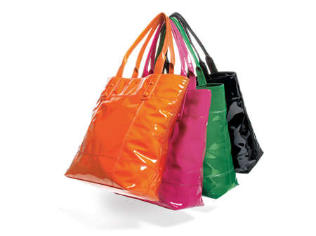 tote: bags, four tote bags in assorted colors Stock Photo