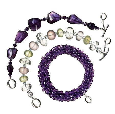 beaded: jewelry, three beaded bracelets, purple, clear