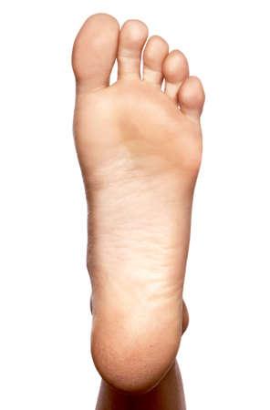 , primer plano pie desnudo, el lenguado Foto de archivo
