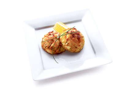 homemade cake: food, crab cakes Stock Photo