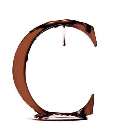 elemento gr�fico, la letra C cubiertas de chocolate