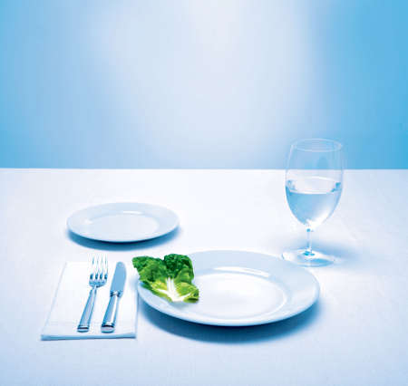 table setting, lettuce leaf as a meal Stock Photo